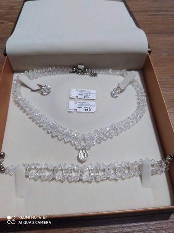 Komplet  biżuterii ślubnej kryształki Swarovski