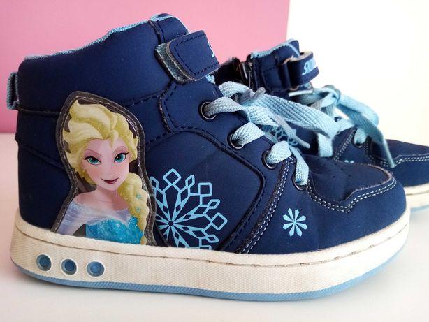 Buty przejściowe Elsa Kraina Lodu, wkl 19cm, idealne, świecą