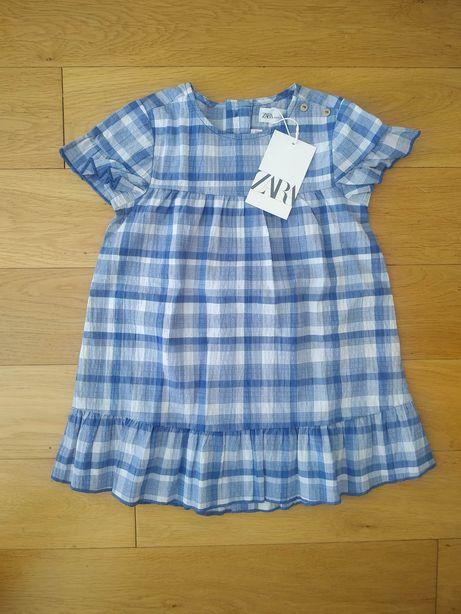 104 NOWA Zara sukienka sukieneczka niebieska krata kratka