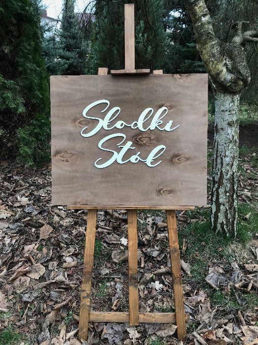 Drewniana tablica Słodki Stół Wesele Ślub NOWA