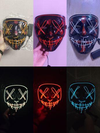 Неоновая светящаяся маска судная ночь гая фокс анонимус вендетта хакер