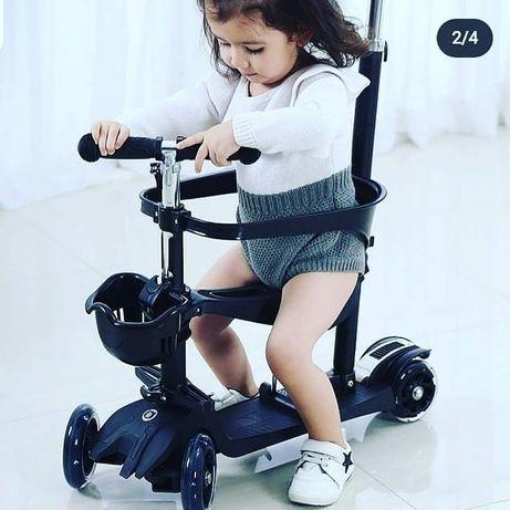 Самокат с родительской ручкой 5в1 scooter Pro очень крутая модель
