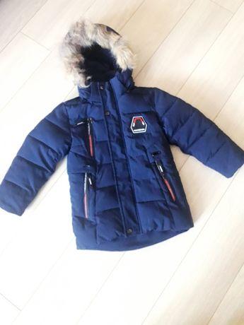 Зимова куртка з натуральним хутром на 5-6 років