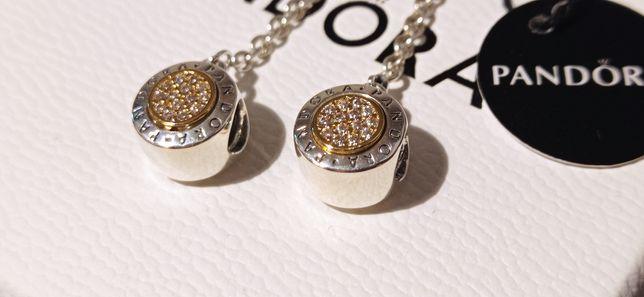 Pandora łańcuszek zabezpieczający logo cyrkonie złoto shine srebro