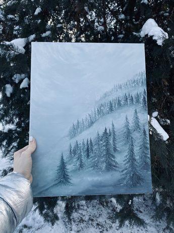 Картина маслом масляная живопись маслянная пейзаж туманный лес
