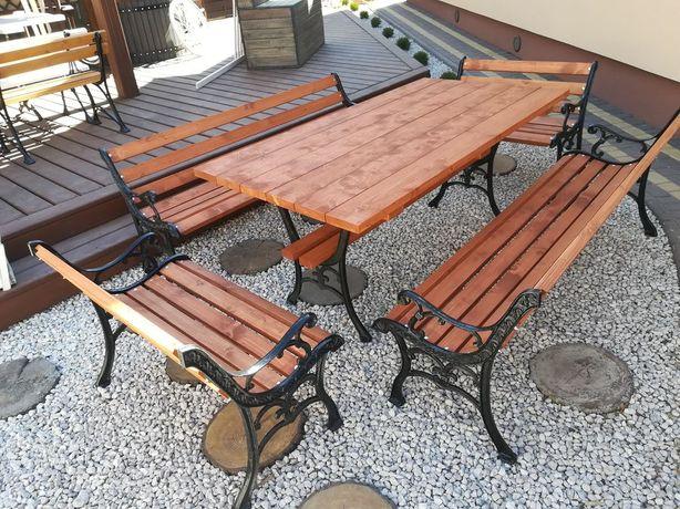 Meble ogrodowe żeliwne piękny wzór chiński zestaw stół 175x90 WYSYŁKA