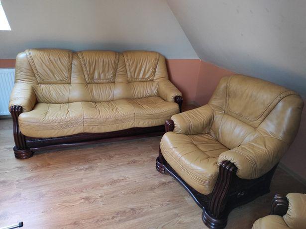 Sofa 3 osobowa z funkcją spania oraz 2 fotele marki KLER, skóra/dąb