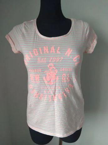 Koszulka damska krótki rękaw neonowa w paski napisy Ginatricot M 40 42