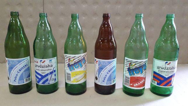 Butelka po wodzie Grodziskiej 1l PRL butelki 12 szt +kontener skrzynka