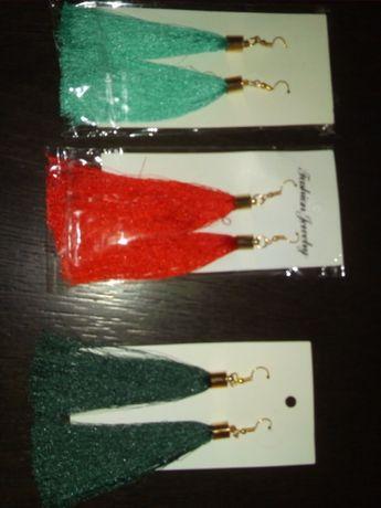 Nowe kolczyki kolor czerwony i jasny zielony