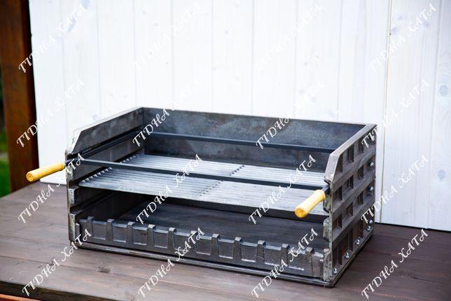 Чугунное барбекю 74см + чугунная решетка и рамка для шампуров