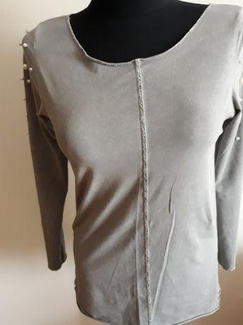 Włoska bluzka bawełna dres popiel perły one size do 42 j.nowa