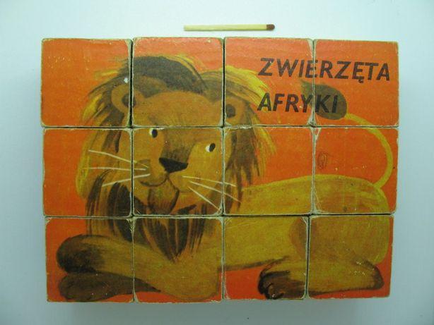 Klocki Zwierzęta Afryki z PRLu Twórczość Nowy Sącz 1971