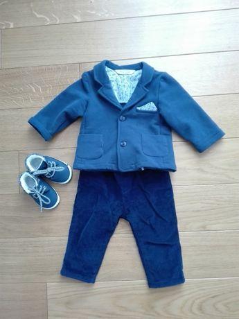Ubranko do chrztu chłopiec marynarka + spodnie + buty rozm. 68/74