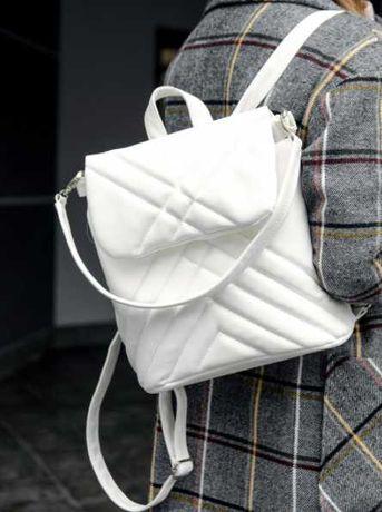 Стильная вещь! Женский белый рюкзак, на каждый день, школьный, экокожа