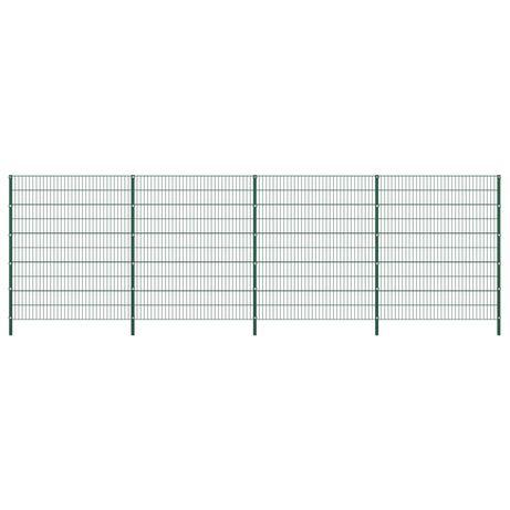 vidaXL Painel de vedação com postes ferro 6,8x2 m verde 278682