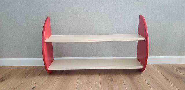 Podwójna półka wisząca na książki, dekoracje czerwona kremowa
