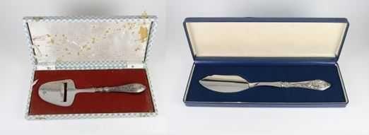 Espátula e Faca de bolo - cabo prata