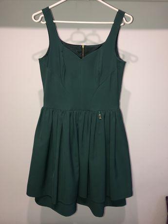 Sukienka wesele studniówka półmetek butelkowa zieleń