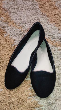 Модные легенькие фирменные туфли балетки мокасины в школу, туфлі!