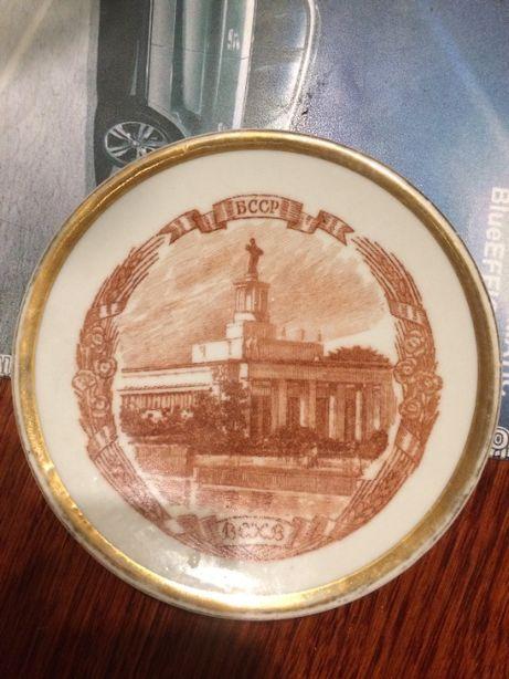 ЛФЗ фарфоровая тарелка на стену БССР ВСХВ