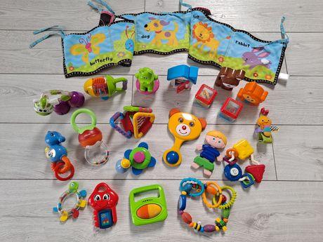 Zestaw 20 zabawek + książka dla malucha, gryzak, grzechotka