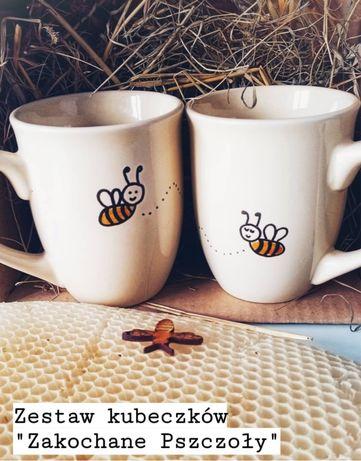 Zestaw prezentowy kubki kubek pszczoły recznie malowany giftbox