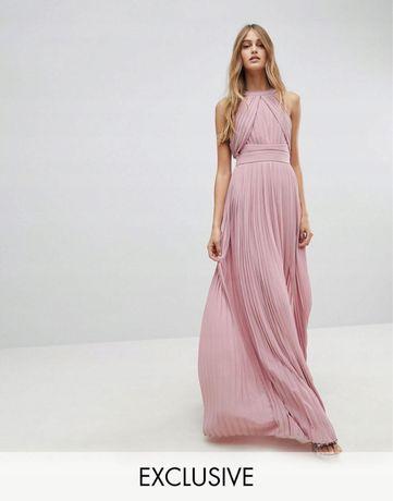 Sukienka maxi długa pudrowy róż xxs TFNC