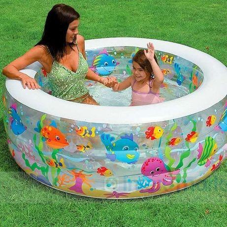 Детский бассейн басейн 152-56 см Аквариум надувной Intex круглый