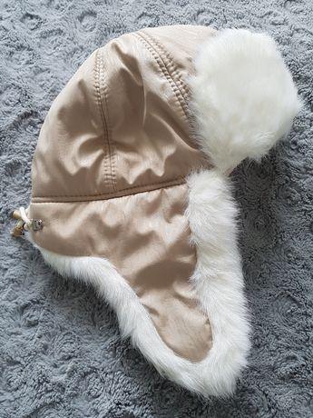 Czapka zimowa uszatka, białobeżowa