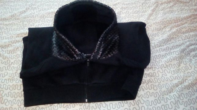Bluza męska Karl Kani XL czarna z kapturem ekoskóra