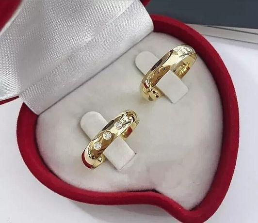 Śliczna Zdobiona Cyrkoniami Para Złotych Obrączek Ślubnych