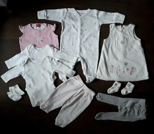 Комплект: боди, слип, платье, колготы, штаны на девочку до 1 месяца