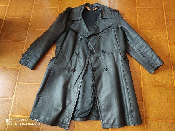 Płaszcz męski czarny - skórzany jak nowy !!!