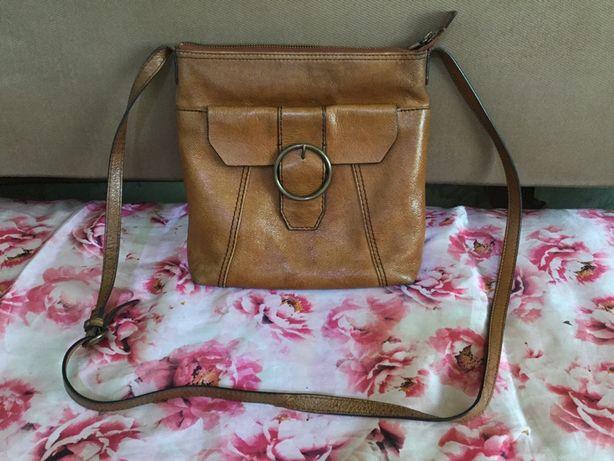 Фирменая большая мужская кожаная сумка M&S. Размер 26~24~8 см