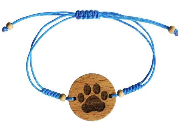 Bransoletka drewno pies kot łapka GRAWER koraliki