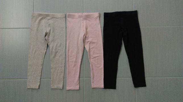 r. 98/104 spodnie legginsy F&F 3 pak
