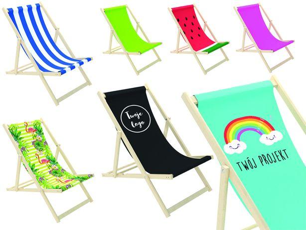 Leżak ogrodowy reklamowy plażowy drewniany z własnym nadrukiem leżaki