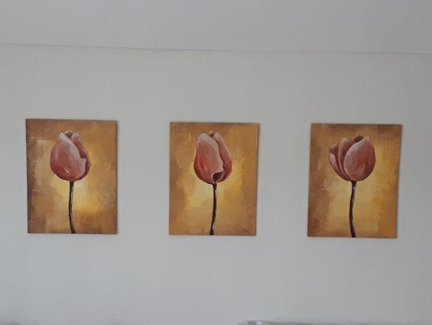 Obrazki malowane ręcznie - tryptyk