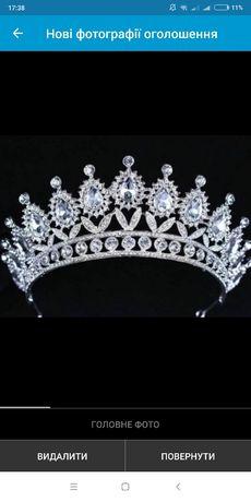 Шикарна корона красива срібна діадема вишукана масивна для нареченої