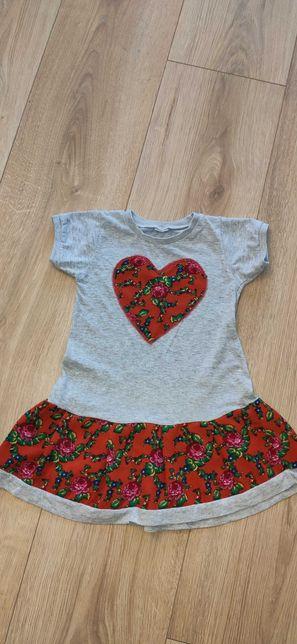 Sukienka folk, serce, kwiaty 98