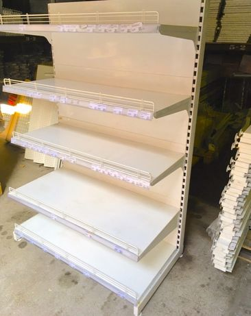 Торговый пристенный стеллаж WIKO усиленные металлическими полками бу