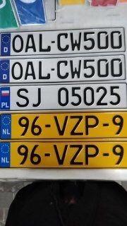 Дубликаты Европейских номерных знаков
