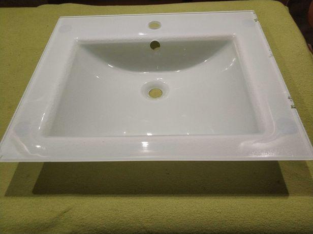Zlew, zlewozmywak, umywalka szklana biala, przezroczysty