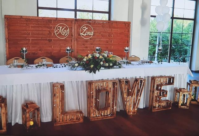 Drewniany, podswietlany napis LOVE hand made