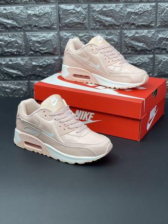 Кремовые кожаные кроссовки Nike Air Max 90 шкіряні кросівки Найк Аир 2