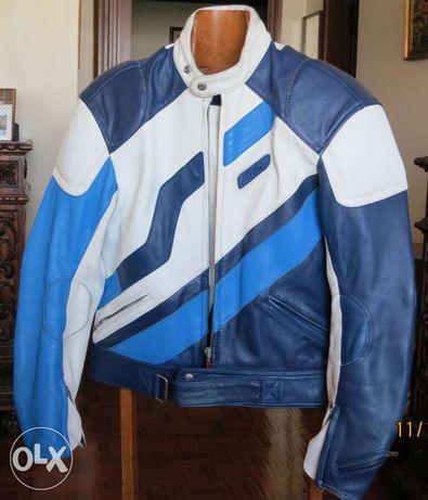 Blusão moto - em pele branco e azul - Marca Schuh