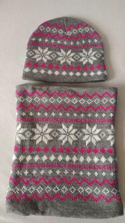 Nowy komplety zimowy dla dziewczynki czapka i komin szare w zimowe wzo