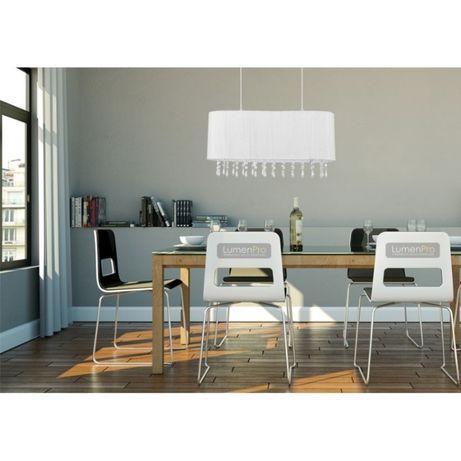 Kryształowa lampa CORSICA abażur tkanina biała Nowodvorski 4524