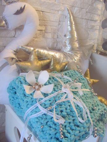 NOWY duży kocyk dzianinowy lazurowy dolphin baby hand made